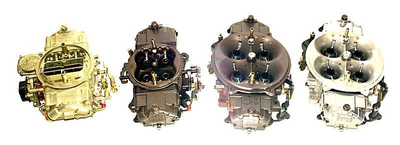 Figure 4. Our test carbs left to right. 850 vacuum secondary, 950 Ultra HP, 950 Ultra Dominator and 1050 Ultra Dominator.